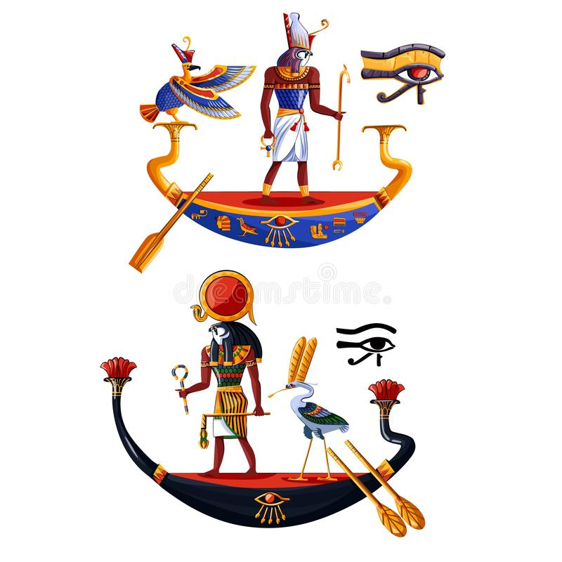 Vetor dos desenhos animados do Ra ou do Horus do deus de sol de Egito antigo ilustração do vetor