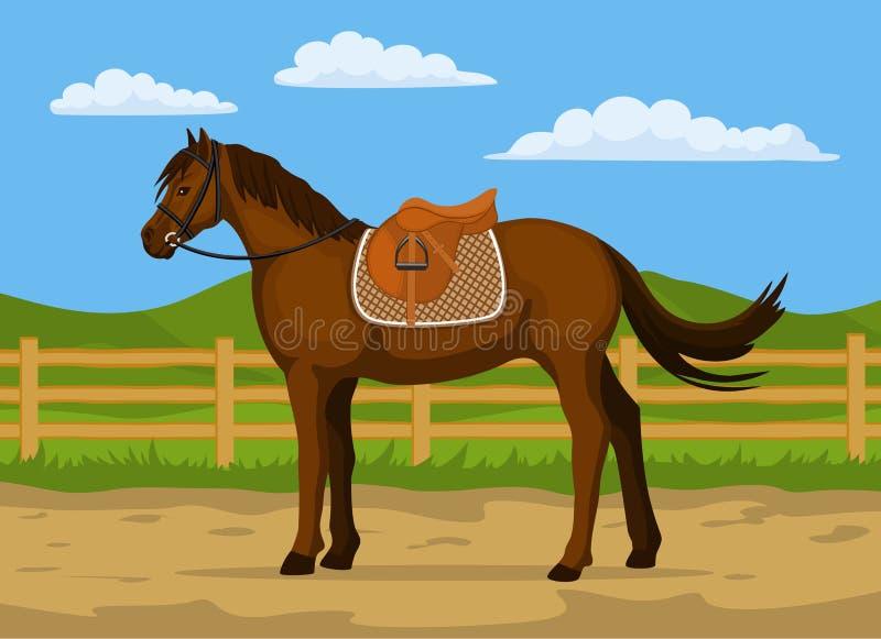 Vetor dos desenhos animados do rancho do cavalo ilustração do vetor