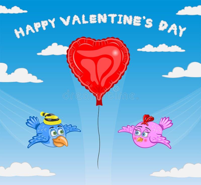 Vetor dos desenhos animados dos pássaros do dia de Valentine's ilustração royalty free