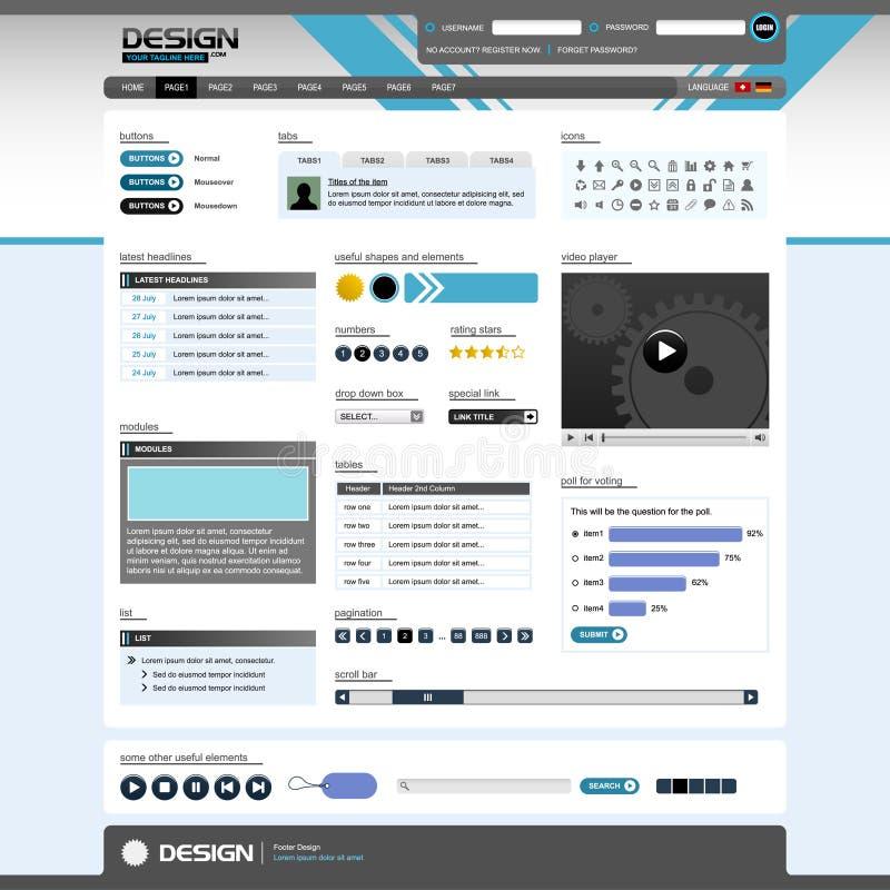 Vetor dos elementos 5 do projeto de Web (tema brilhante) ilustração stock