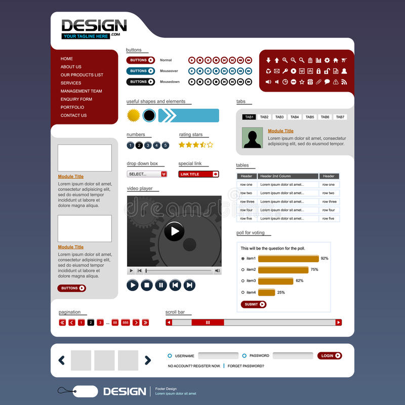 Vetor dos elementos 6 do projeto de Web (tema brilhante) ilustração stock