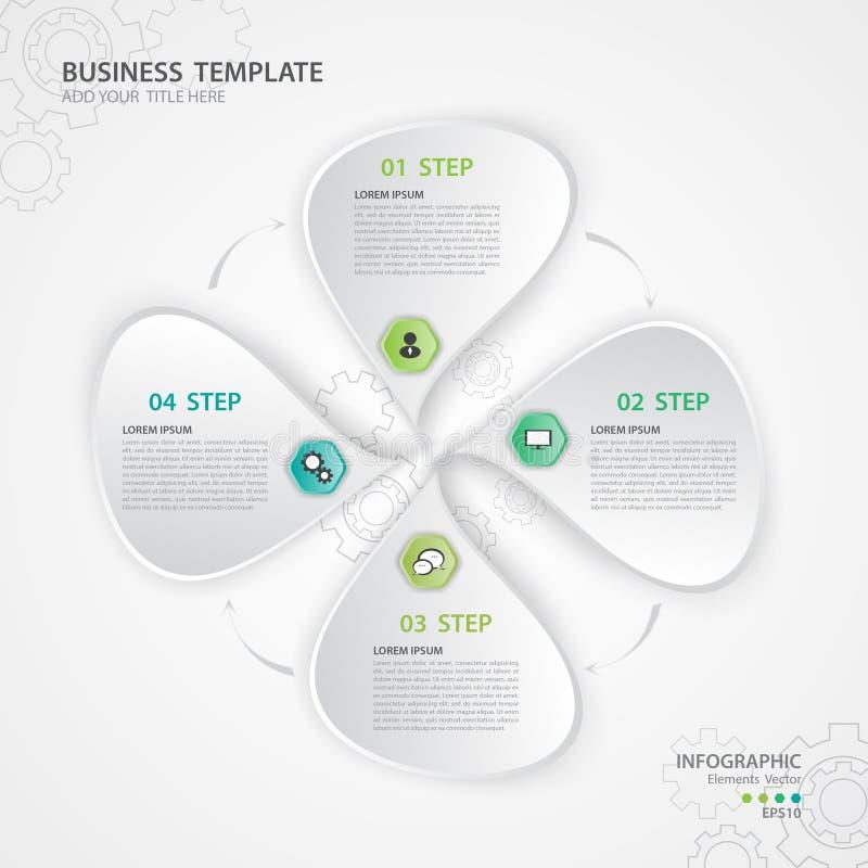 Vetor dos elementos de Infographic para o negócio, ícone da Web, apresentação, carta, diagrama, o espaço temporal, 4 opções ilustração do vetor