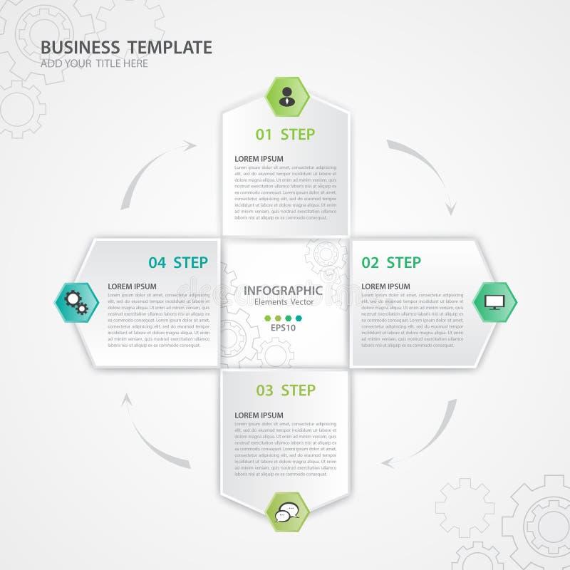Vetor dos elementos de Infographic para o negócio, polígono, design web, bandeira, apresentação, forma geométrica, diagrama, cart ilustração stock
