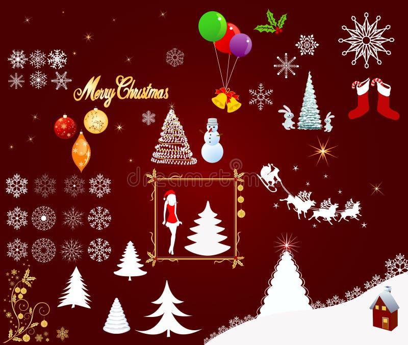 Vetor dos elementos do Natal ilustração stock