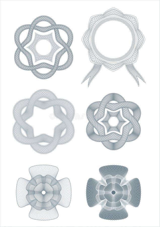 Vetor dos elementos do projeto dos Rosettes ilustração do vetor
