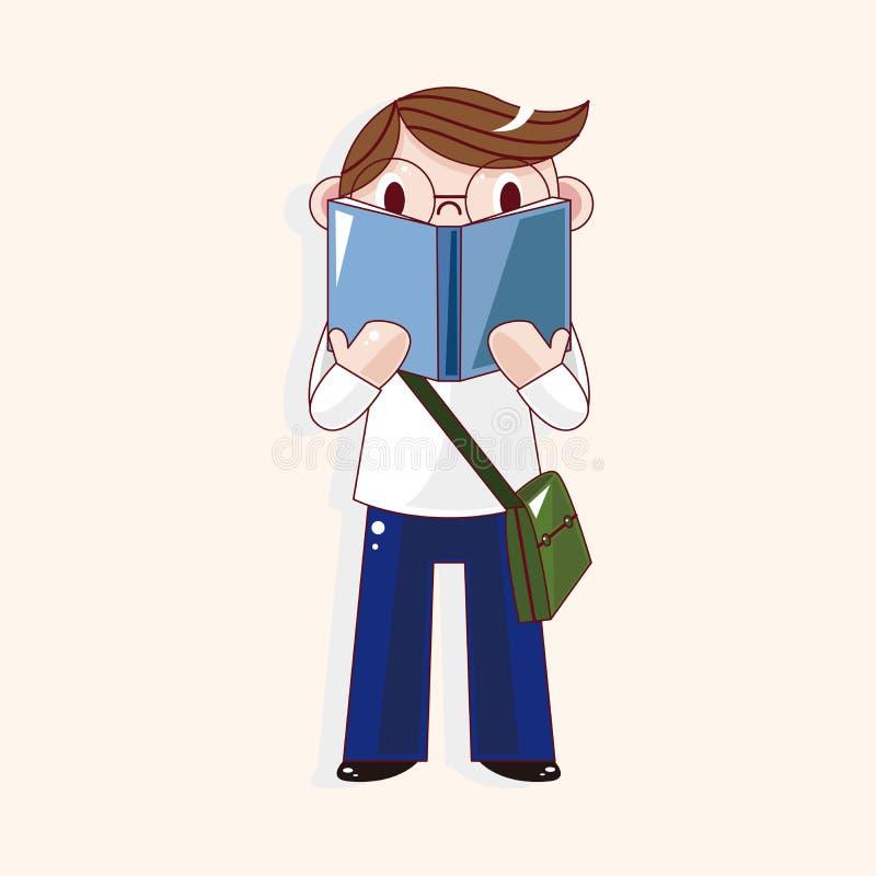 Vetor dos elementos do tema dos desenhos animados do estudante, eps ilustração royalty free