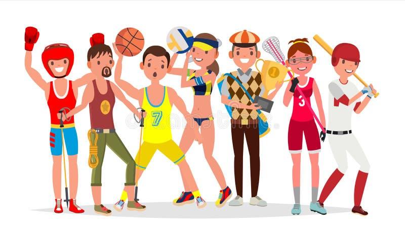 Vetor dos esportes do verão Grupo de jogadores no encaixotamento, caminhando, basquetebol, voleibol, golfe, lacrosse, basebol iso ilustração do vetor