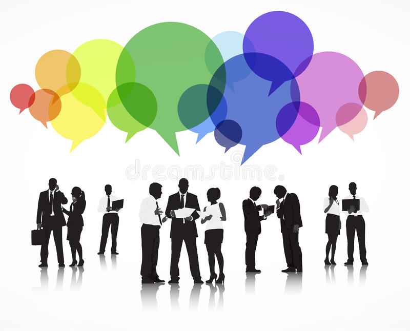 Vetor dos executivos que discutem com as bolhas do discurso ilustração do vetor
