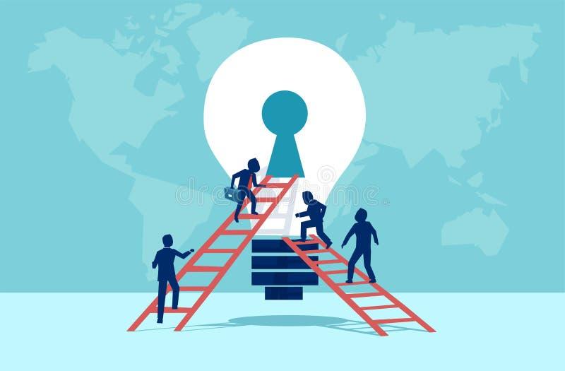 Vetor dos executivos que escalam acima a escada no buraco da fechadura aberto da ampola ilustração royalty free
