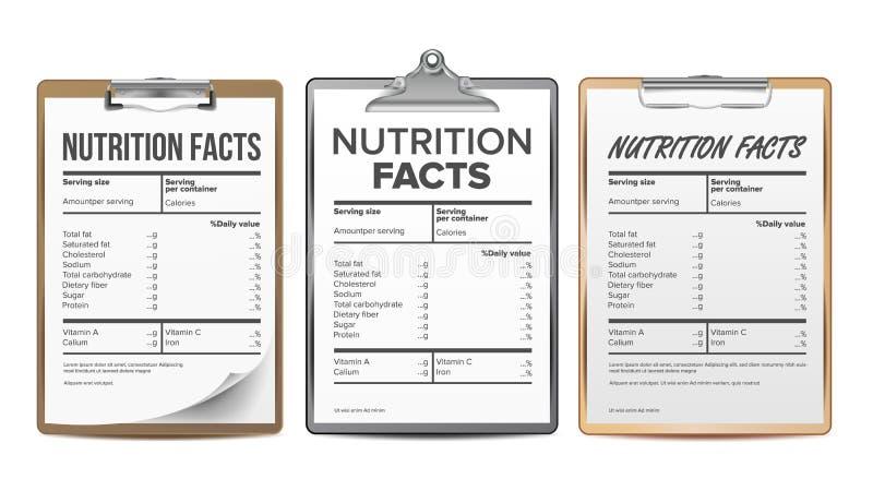 Vetor dos fatos da nutrição Placa, molde Lista das calorias da dieta para a caixa índice do alimento Informação gorda Esporte da  ilustração do vetor