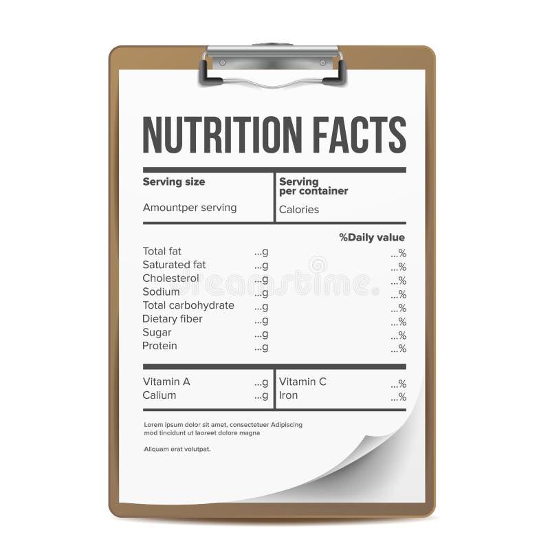 Vetor dos fatos da nutrição Placa, molde serving Saudável Suplemento dietético saudável à aptidão Ilustração ilustração royalty free