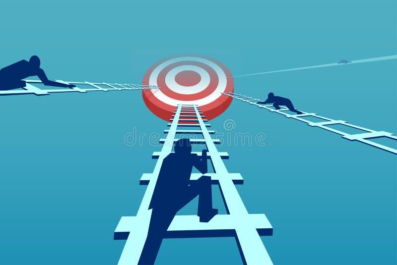Vetor dos homens de negócios competitivos que escalam acima uma escada da carreira ilustração stock