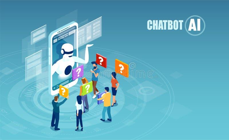 Vetor dos homens e das mulheres que conversam com aplicação do chatbot ilustração do vetor