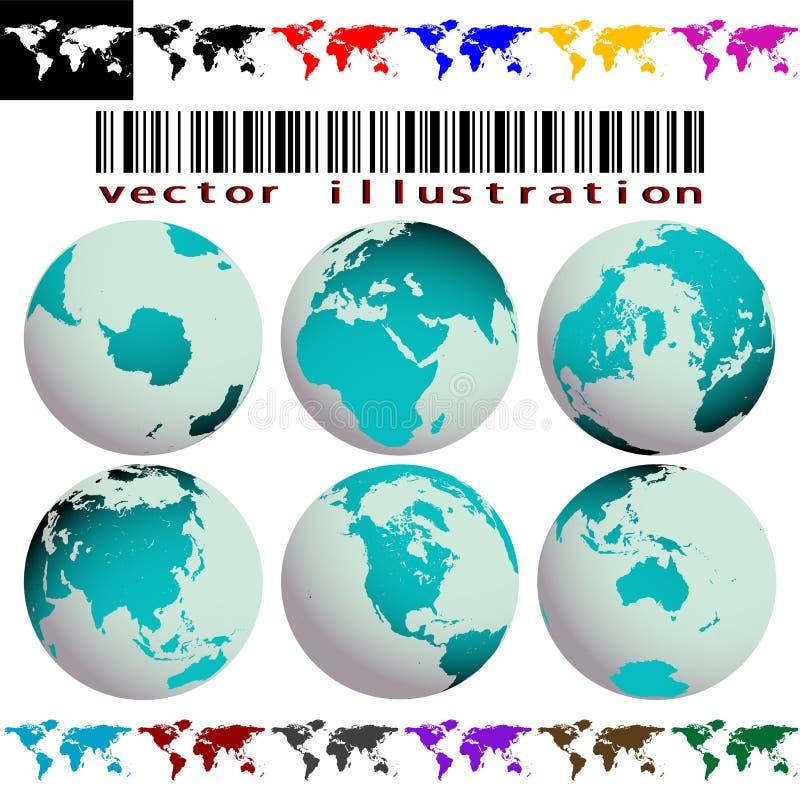 Vetor dos mapas e dos globos de mundo ilustração royalty free