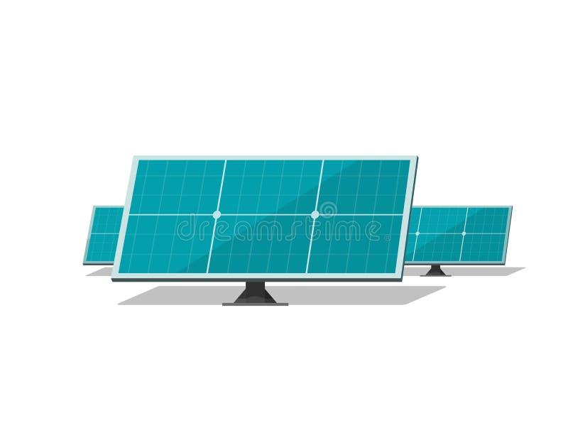 Vetor dos painéis solares isolado no fundo branco ilustração stock