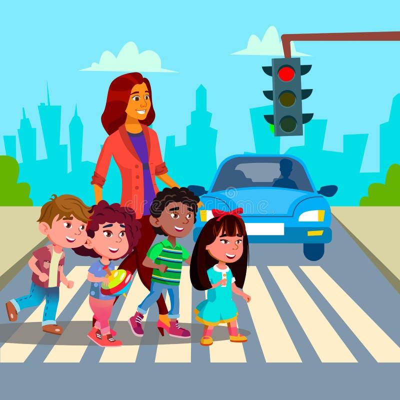 Vetor dos rapazes pequenos e das meninas da estrada de Transfer Across The do professor de jardim de infância Ilustração isolada ilustração do vetor