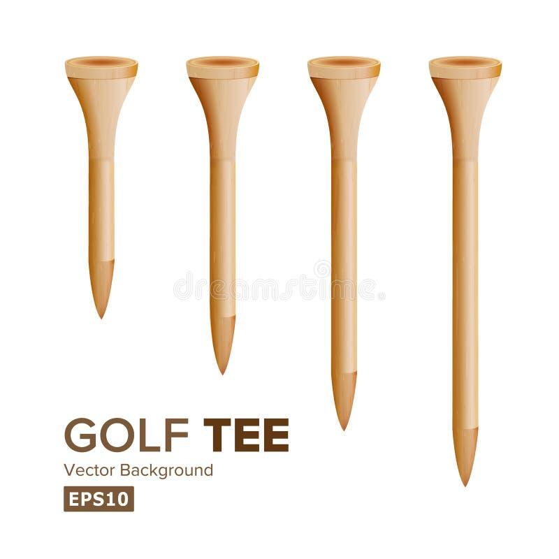Vetor dos T de golfe Ilustração realística dos T Golfing de madeira isolados no fundo branco Tamanho diferente ilustração stock