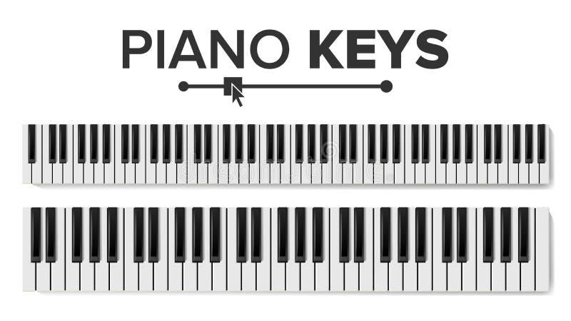 Vetor dos teclados de piano Ilustração isolada Almofada do teclado da vista superior ilustração royalty free