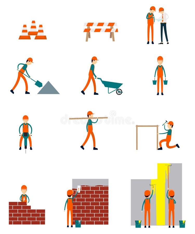 Vetor dos trabalhos de equipa do negócio de caráter do trabalhador da construção ilustração stock