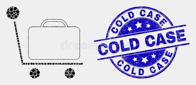Vetor Dot Baggage Cart Icon e filigrana do caso arquivado da aflição ilustração do vetor