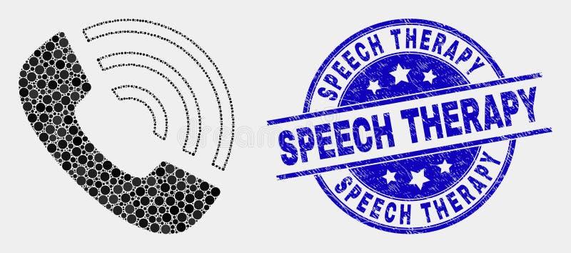 Vetor Dot Call Phone Icon e selo riscado da terapia da fala ilustração stock