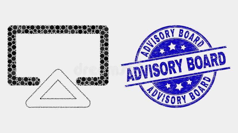 Vetor Dot Display Icon e selo do conselho consultivo do Grunge ilustração stock
