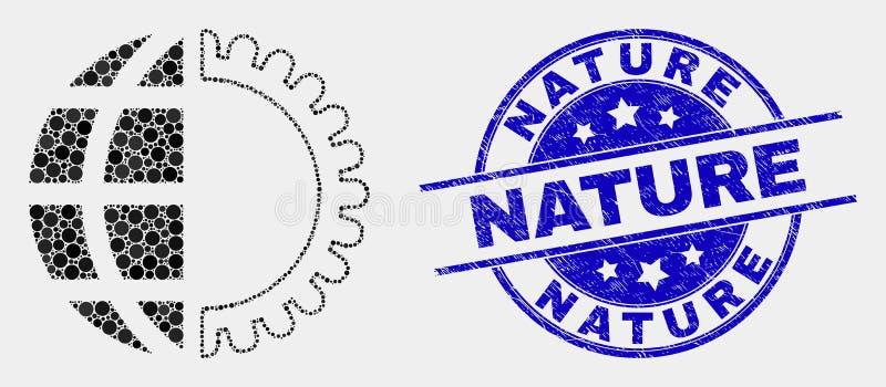 Vetor Dot Global Service Icon e selo da natureza da aflição ilustração do vetor