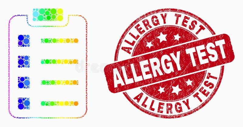 Vetor Dot Items Pad Icon colorido arco-íris e selo de teste riscado da alergia ilustração stock