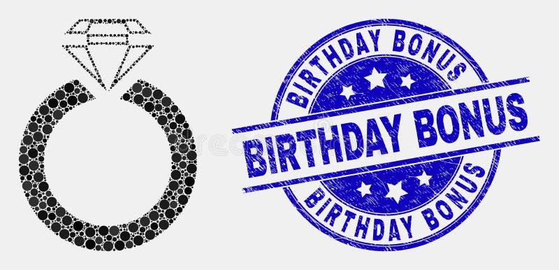 Vetor Dot Jewelry Ring Icon e selo do bônus do aniversário do Grunge ilustração do vetor
