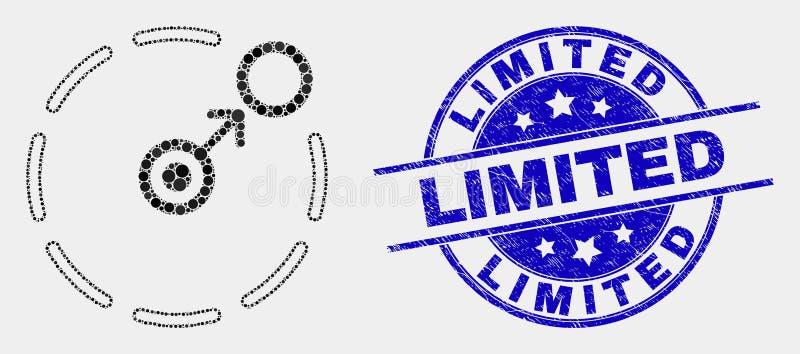 Vetor Dot Move para circundar selo limitado do ícone do perímetro e do selo do Grunge ilustração do vetor