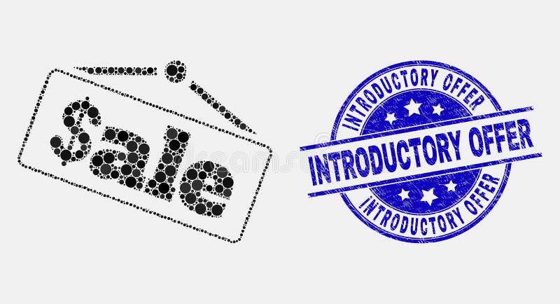 Vetor Dot Sale Announce Icon e selo introdutório da oferta do Grunge ilustração stock