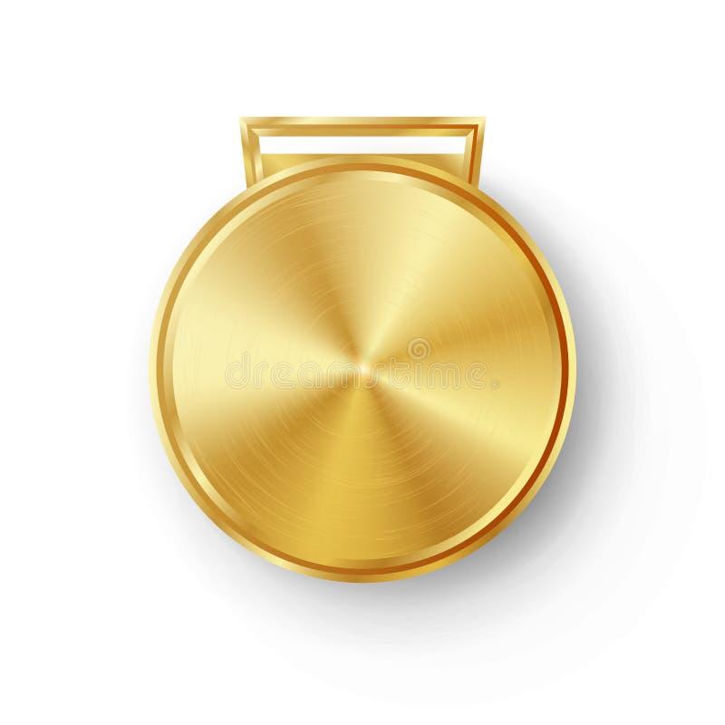 Vetor dourado do molde da medalha dos jogos da competição Crachá geométrico do círculo realístico Textura perfurada do metal da t ilustração royalty free