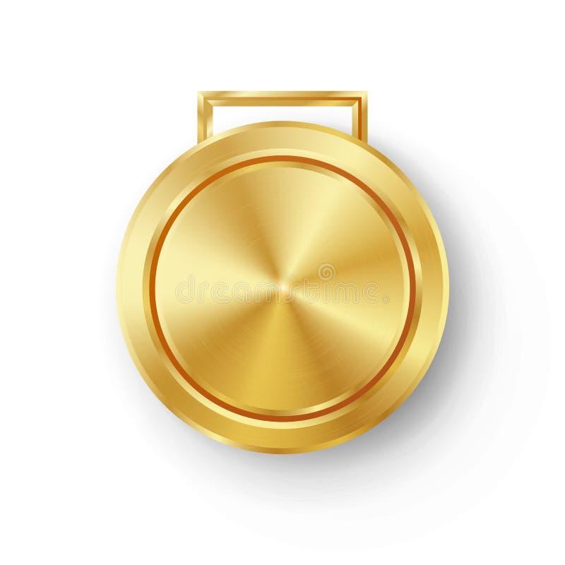 Vetor dourado do molde da medalha dos jogos da competição Crachá geométrico do círculo realístico Textura perfurada do metal da t ilustração do vetor