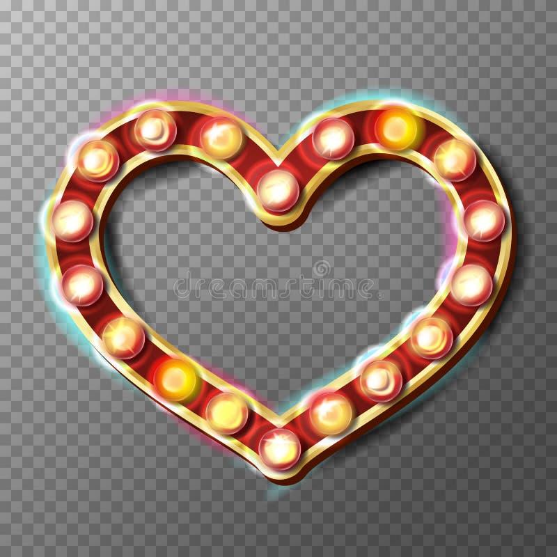Vetor dourado do sinal do quadro do coração Ampolas de incandescência Isolado no fundo transparente ilustração royalty free