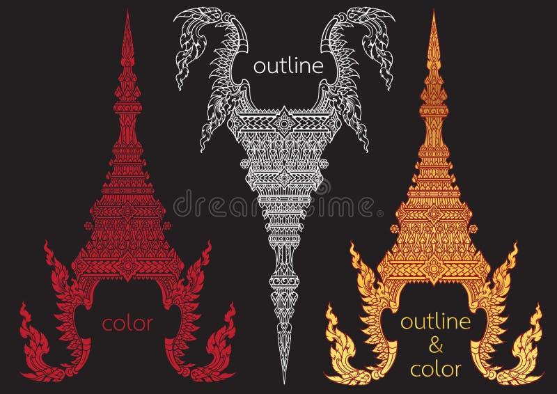 Vetor dourado tailandês da coroa ilustração stock