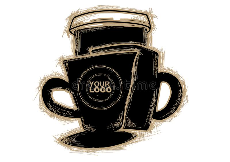 Vetor e café do esboço para você imagem de stock