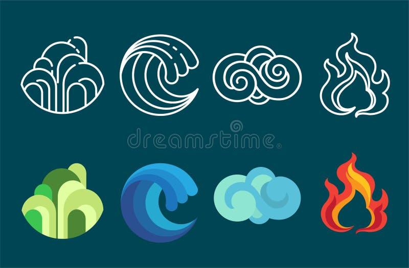 Vetor e ilustração do grupo do ícone de quatro elementos ilustração royalty free