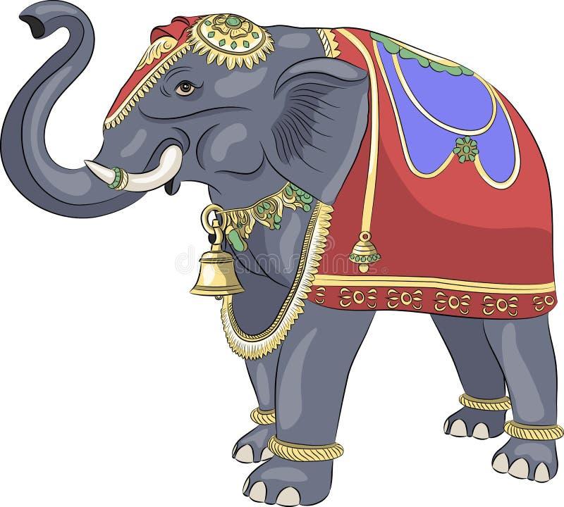 Vetor Elefante indiano decorado ilustração stock