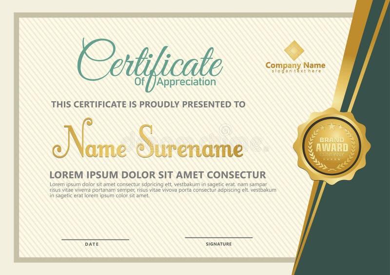 Vetor elegante do molde do certificado com fundo luxuoso e moderno do teste padrão ilustração do vetor