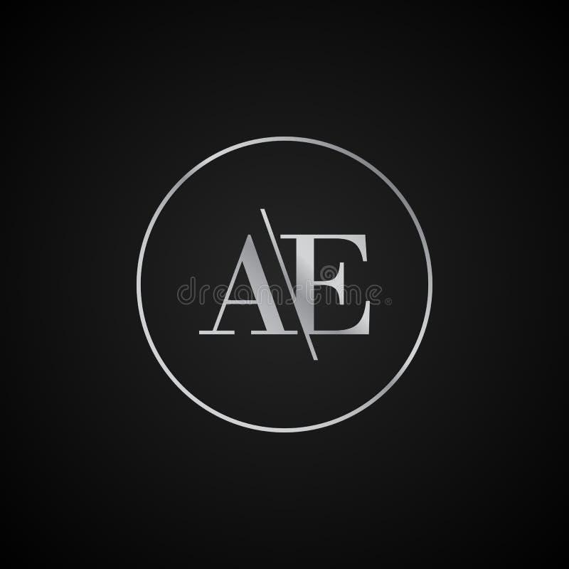 Vetor elegante original moderno do molde do logotipo da letra inicial da AE criativo ilustração stock