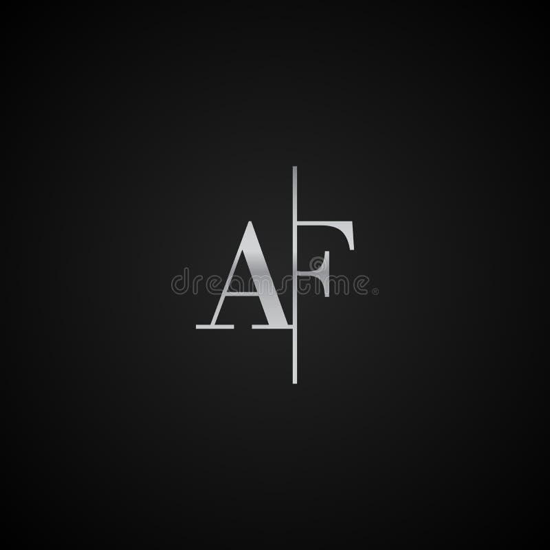 Vetor elegante original moderno do molde do logotipo da letra inicial do AF criativo ilustração do vetor