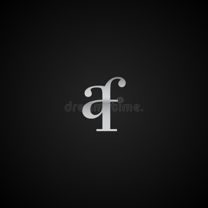 Vetor elegante original moderno do molde do logotipo da letra inicial do AF criativo ilustração royalty free