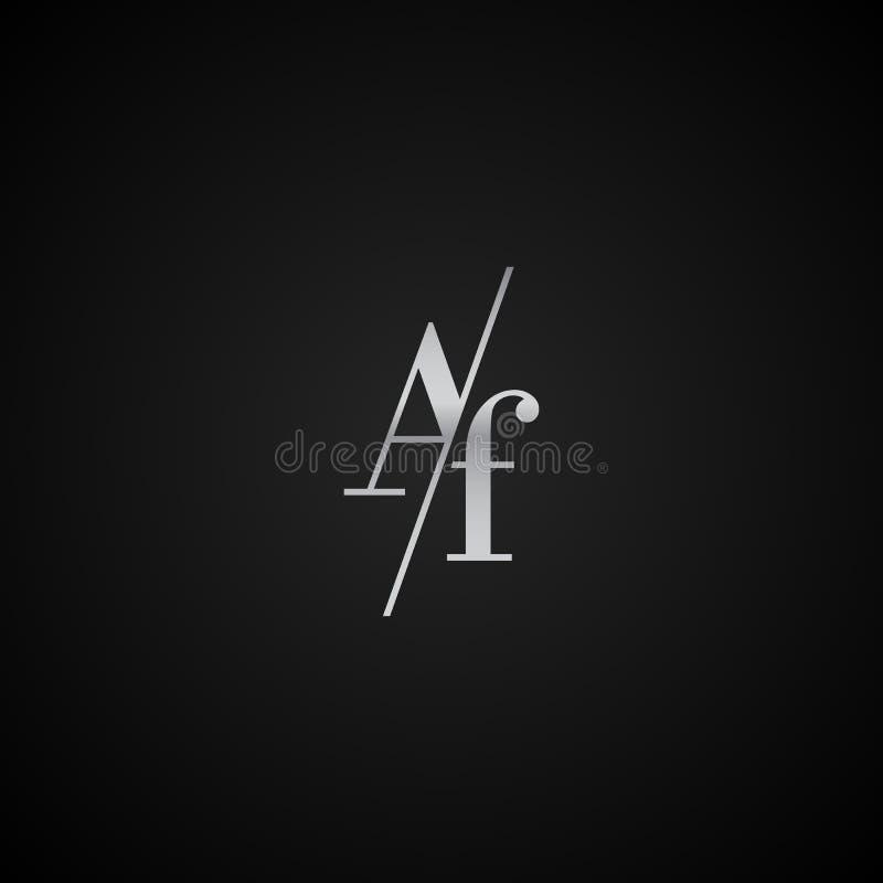 Vetor elegante original moderno do molde do logotipo da letra inicial do AF criativo ilustração stock