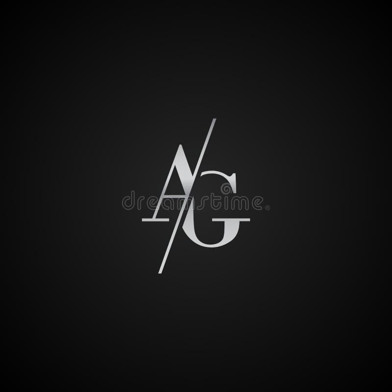 Vetor elegante original moderno do molde do logotipo da letra inicial do AG criativo ilustração do vetor