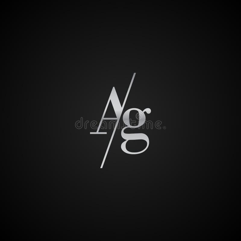 Vetor elegante original moderno do molde do logotipo da letra inicial do AG criativo ilustração royalty free