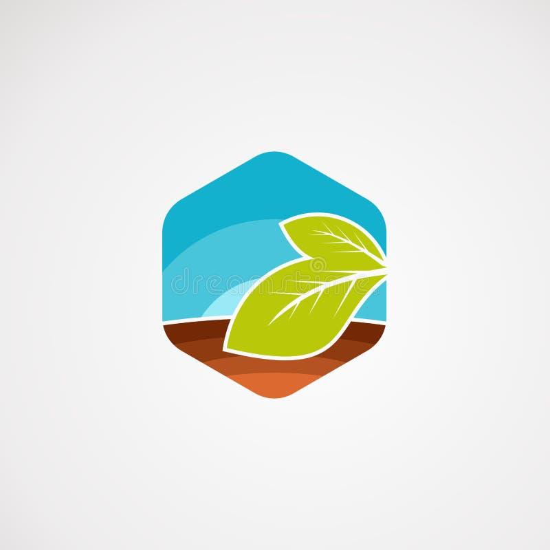 Vetor, elemento, e molde do logotipo da paisagem da agricultura para a empresa ilustração royalty free