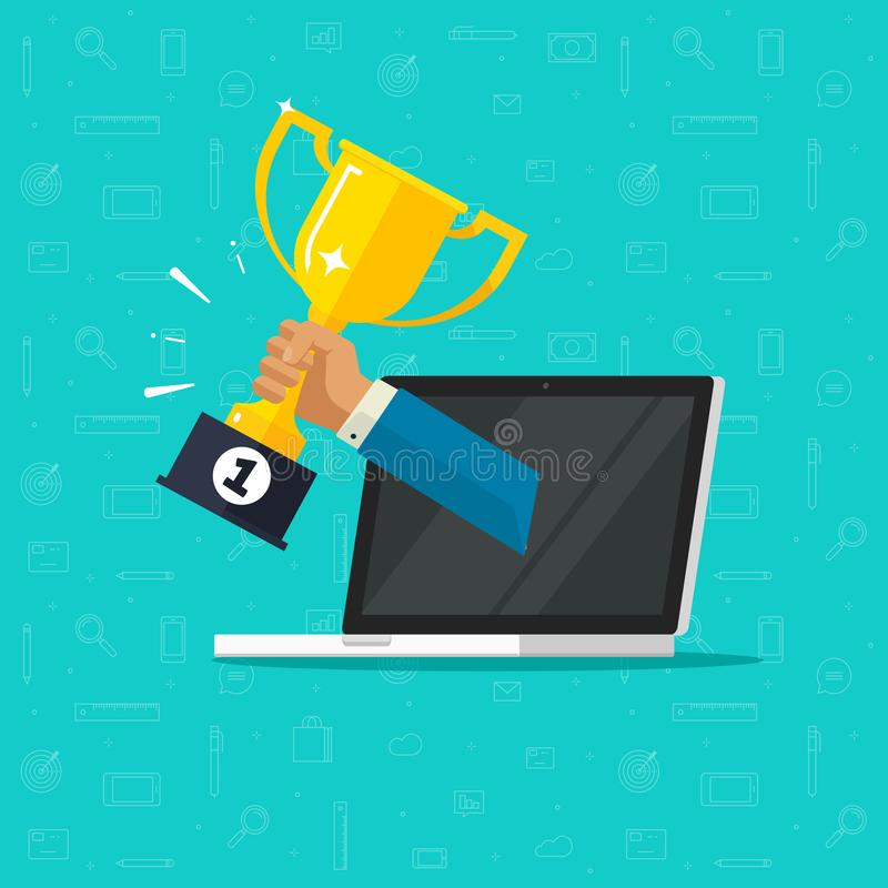 Vetor em linha da realização do objetivo da concessão, laptop liso dos desenhos animados e prêmio do copo dourado do vencedor do  ilustração do vetor