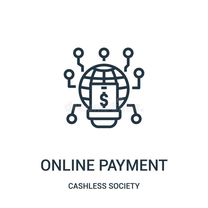 vetor em linha do ícone do pagamento da coleção cashless da sociedade Linha fina ilustra??o em linha do vetor do ?cone do esbo?o  ilustração do vetor