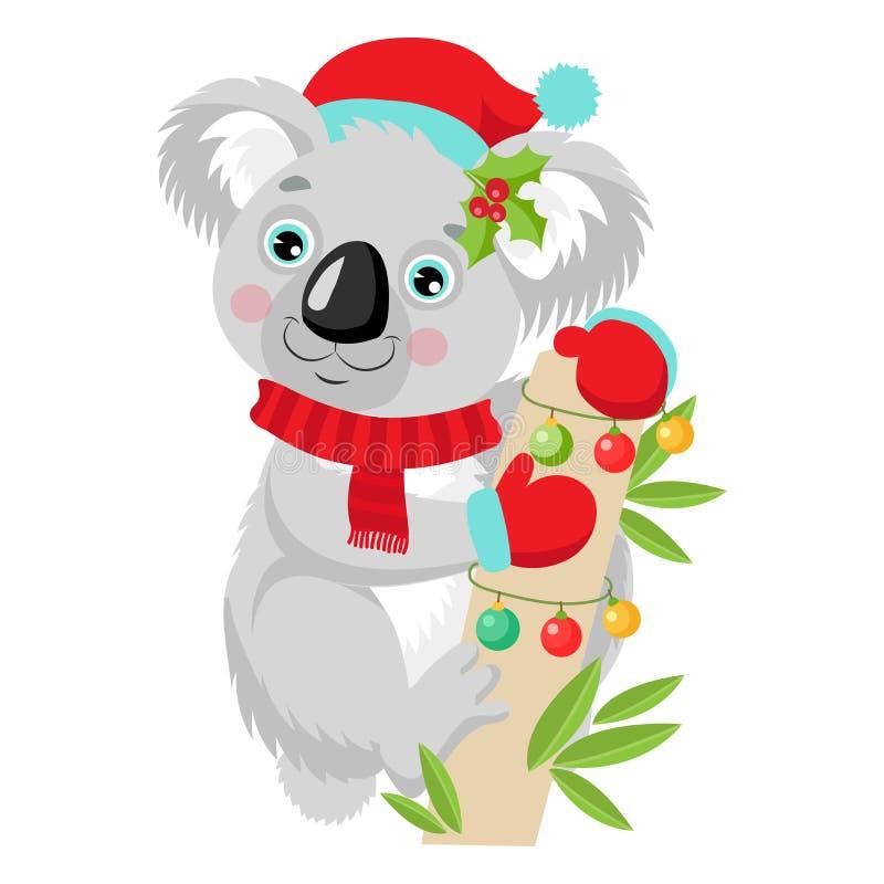 Vetor engraçado do Natal da coala Feliz Natal de Austrália ilustração royalty free