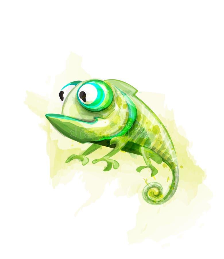 Vetor engraçado do personagem de banda desenhada do camaleão Réptil bonito com a aquarela grande dos olhos ilustração stock